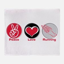 Peace Love Running Throw Blanket
