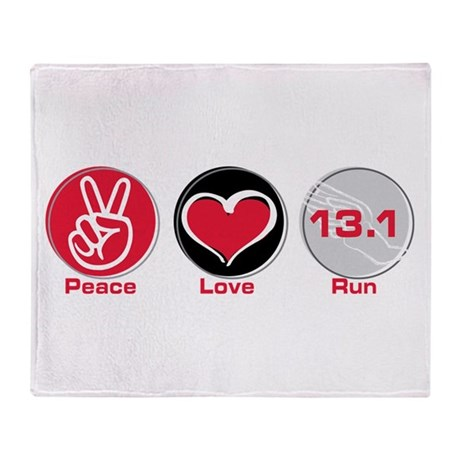 Peace Love Run 13.1 Throw Blanket