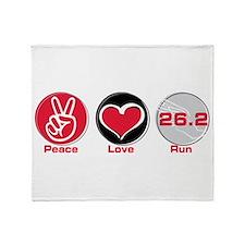Peace Love Run 26.2 Throw Blanket