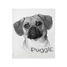 Perfect Puggle Portrait Throw Blanket
