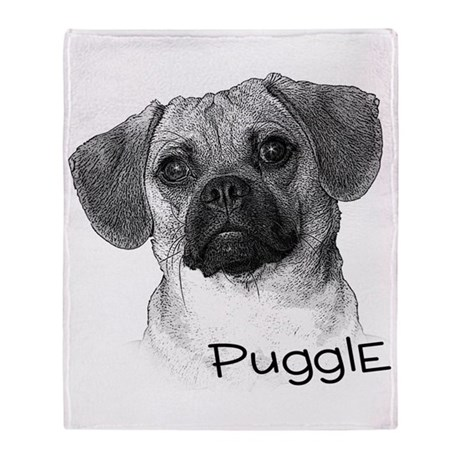 Perfect Puggle Portrait Throw Blanket