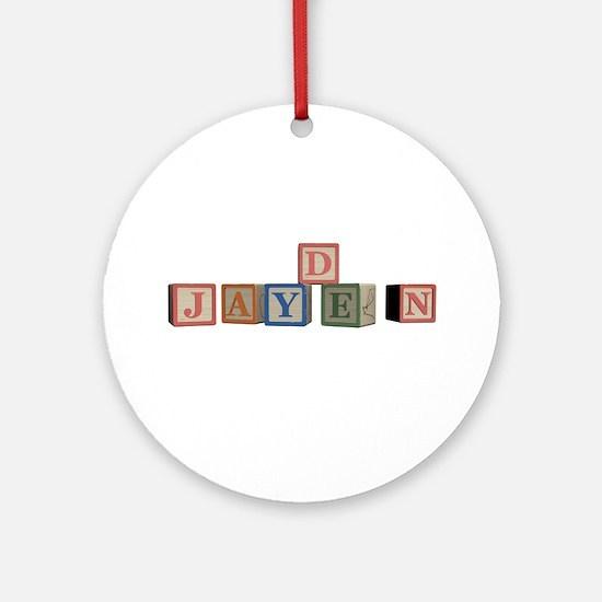 Jayden Alphabet Block Ornament (Round)