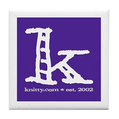 Knittylove [purple] Tile Coaster