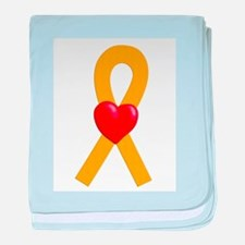 Gold Heart Ribbon baby blanket