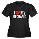 I Love My Mechanic Women's Plus Size V-Neck Dark T