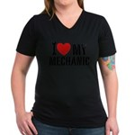 I Love My Mechanic Women's V-Neck Dark T-Shirt