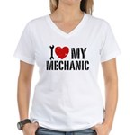 I Love My Mechanic Women's V-Neck T-Shirt
