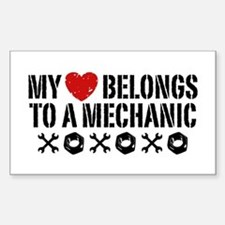 My Heart Belongs to a Mechanic Sticker (Rectangle)
