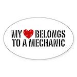 My Heart Belongs To A Mechanic Sticker (Oval)