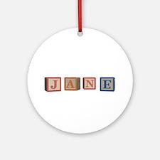 Jane Alphabet Block Ornament (Round)