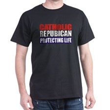 Catholic Republican - Defending Life Dark Tee