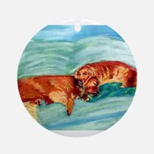 Two Goldens Nap Time Ornament (Round)