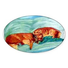 Two Goldens Nap Time Oval Decal