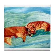 Two Goldens Nap Time Tile Coaster