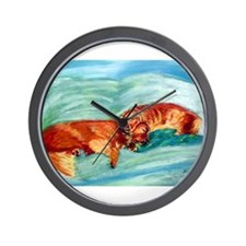 Two Goldens Nap Time Wall Clock