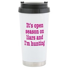 Open Season On Liars Travel Coffee Mug