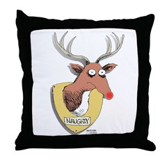 Naughty Reindeer Design Throw Pillow
