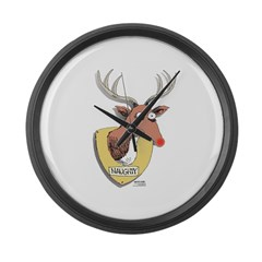 Naughty Reindeer Design Large Wall Clock