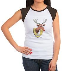 Naughty Reindeer Design Women's Cap Sleeve T-Shirt