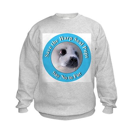 Anti-Fur Harp Seal Pup (Front) Kids Sweatshirt