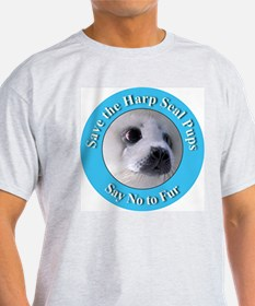 Anti-Fur Harp Seal Pup (Front) Ash Grey T-Shirt