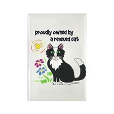 """""""Rescued Cat"""" Rectangle Magnet (10 pack)"""