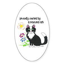 """""""Rescued Cat"""" Oval Bumper Stickers"""