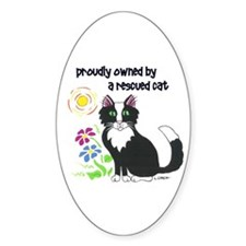 """Rescued Cat"" Oval Decal"