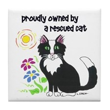 """Rescued Cat"" Tile Coaster"