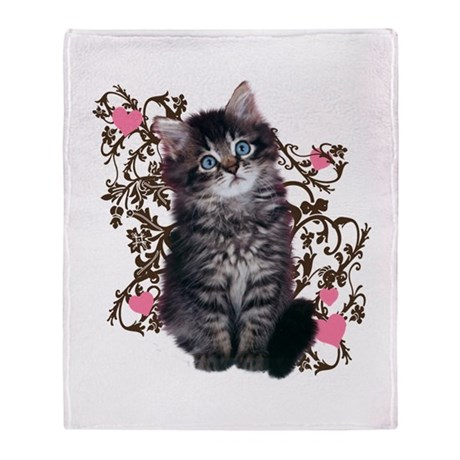 Cute Kitten Kitty Cat Lover Throw Blanket