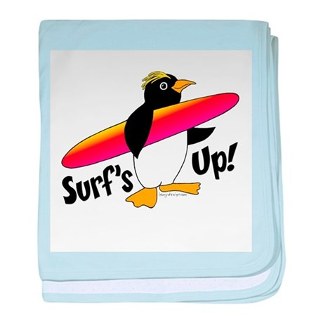 Surf's Up! Penguin baby blanket