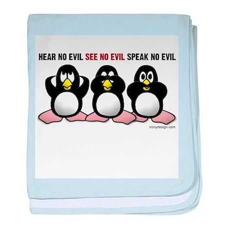 No Evil Penguins baby blanket