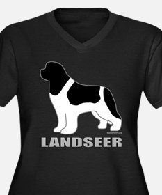 LANDSEER Women's Plus Size V-Neck Dark T-Shirt