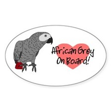 African Grey On Board Oval Decal