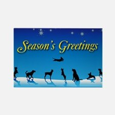 Doggy Season's Greetings Rectangle Magnet