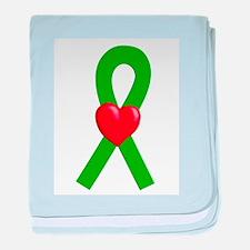 Green Ribbon Heart baby blanket
