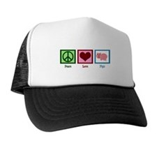 Peace Love Pigs Trucker Hat