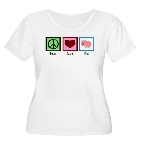 Peace Love Pigs Women's Plus Size Scoop Neck T-Shi