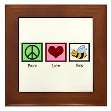 Peace Love Bees Framed Tile