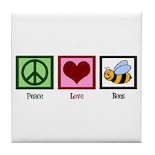 Peace Love Bees Tile Coaster