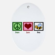 Peace Love Bees Ornament (Oval)