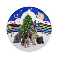 X- Music #1-2 G-Sheps + 2 cat Ornament (Round)
