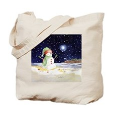 Coastal Snowman Tote Bag