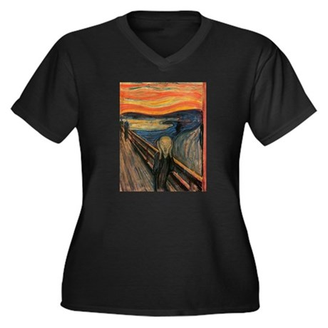 The Scream Skrik Women's Plus Size V-Neck Dark T-S