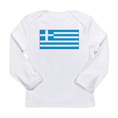 Greece Greek Blank Flag Long Sleeve Infant T-Shirt