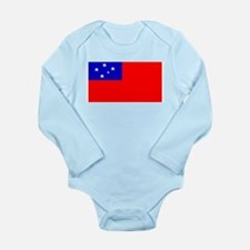 Samoa Samoan Blank Flag Long Sleeve Infant Bodysui