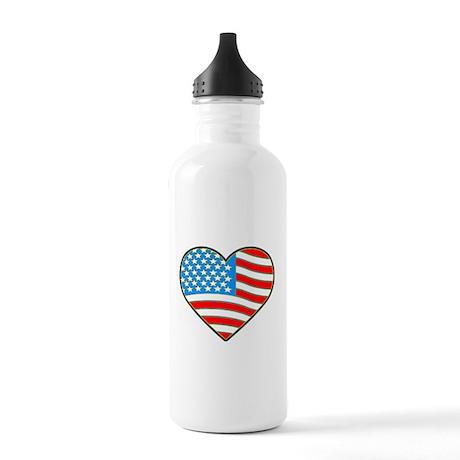 I Love America Flag Stainless Water Bottle 1.0L