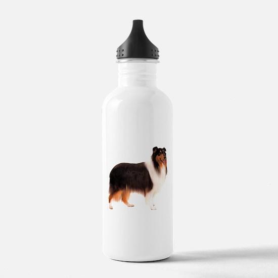 Black Rough Collie Water Bottle