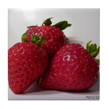 Strawberry Trio Tile Coaster