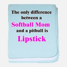 Softball Mom Pitbull Lipstick baby blanket